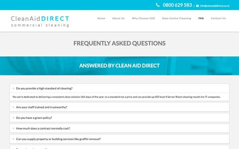 Screenshot of FAQ Page cleanaiddirect.co.nz - CleadAid Direct - Commercial Cleaning Company - captured Sept. 28, 2018
