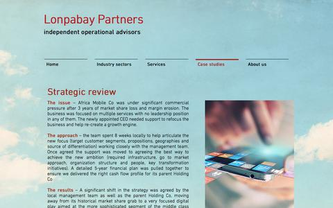 Screenshot of Case Studies Page lonpabay.com - Lonpabay Partners | Case studies - captured Sept. 8, 2017