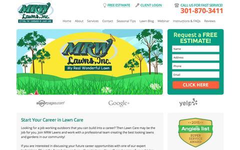 Screenshot of Jobs Page mrwlawns.com - Careers - MRW Lawns - captured Nov. 16, 2016