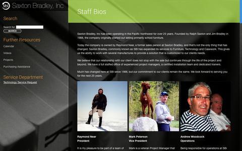 Screenshot of About Page saxtonbradley.com - Staff Bios - SBI - captured Oct. 4, 2014