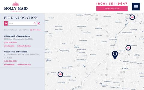 Screenshot of Locations Page mollymaid.com - Locations | Cleaning Company - captured March 9, 2019