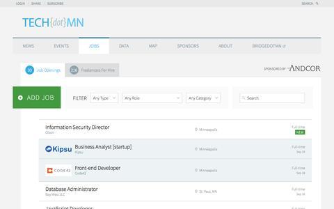 Screenshot of Jobs Page tech.mn - TECHdotMN Jobs Jobs Board - TECHdotMN - captured Sept. 24, 2014