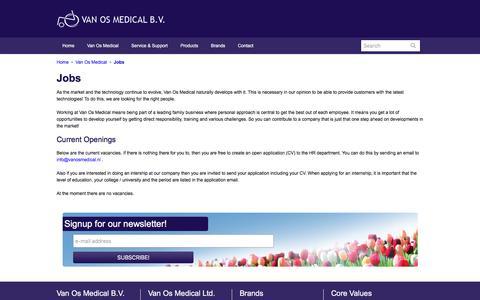 Screenshot of Jobs Page vanosmedical.nl - Jobs - Van Os Medical B.V. - captured Nov. 28, 2016