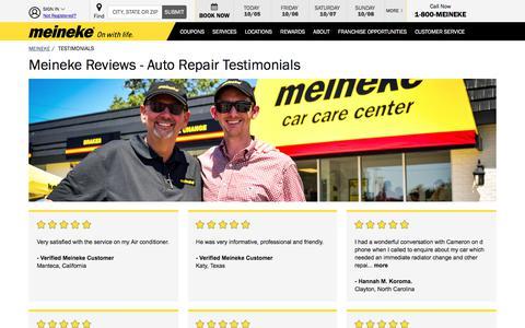 Screenshot of Testimonials Page meineke.com - Meineke Reviews - Meineke Car Care Center Reviews - captured Oct. 5, 2017