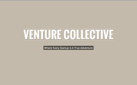 Screenshot of Home Page venturecollective.co - Venture Collective » Where Every Startup Is A True Adventure - captured Oct. 9, 2014