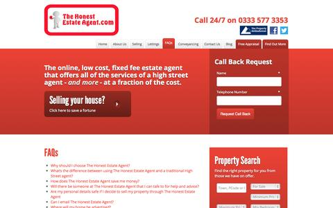 Screenshot of FAQ Page thehonestestateagent.com - Selling your property FAQs   Online estate agent, The Honest Estate Agent Manchester - captured Oct. 1, 2014