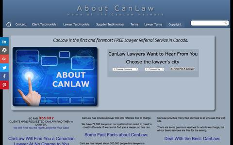 Screenshot of About Page canlaw.com - Contact us CanLaw the first FREE Lawyer Referral Service in Canada CanLaw contacts - captured June 29, 2017