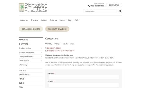 Screenshot of Contact Page plantation-shutters.co.uk - Contact Us | London Office | Plantation Shutters - captured Aug. 9, 2017