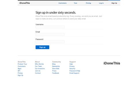 Screenshot of Signup Page idonethis.com - Sign Up - iDoneThis - captured July 20, 2014