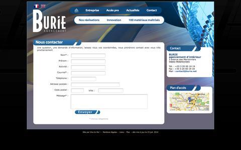 Screenshot of Contact Page burie.net - contactez Burie Agencement pour un devis, un projet, un chantier - captured Sept. 30, 2014