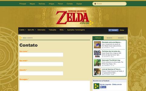Screenshot of Contact Page zelda.com.br - Contato | Hyrule Legends - captured Oct. 3, 2014
