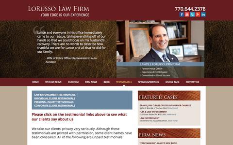 Screenshot of Testimonials Page lorussolawfirm.net - Testimonials   LoRusso Law Firm - captured July 16, 2016
