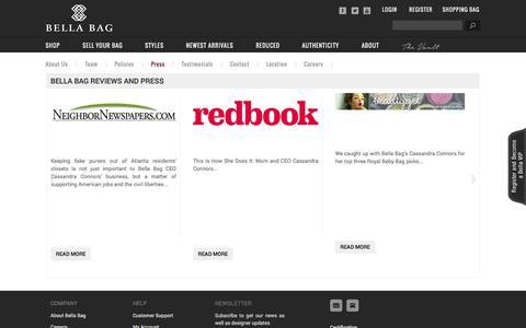 Screenshot of Press Page bellabag.com - Pre Owned / Used Designer Handbags / Bags - Press Bella Bag - captured Sept. 19, 2014