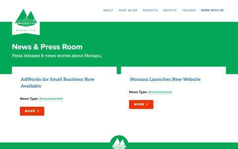 Screenshot of Press Page monazu.com - News & Press Room // Monazu Creative Group - captured Oct. 18, 2018