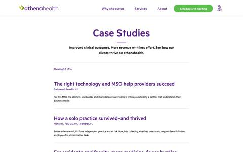 Screenshot of Case Studies Page athenahealth.com - Healthcare case studies | athenahealth - captured March 29, 2019