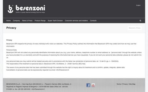 Screenshot of Privacy Page besenzoni.it - Privacy | Besenzoni - captured July 29, 2016
