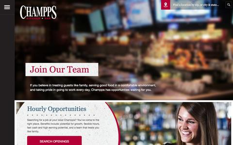 Screenshot of Jobs Page champps.com - Champps  Work With Us - captured May 16, 2017