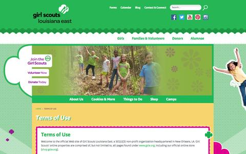 Screenshot of Terms Page gsle.org - Terms of Use - Girl Scouts Louisiana EastGirl Scouts Louisiana East - captured Oct. 2, 2014