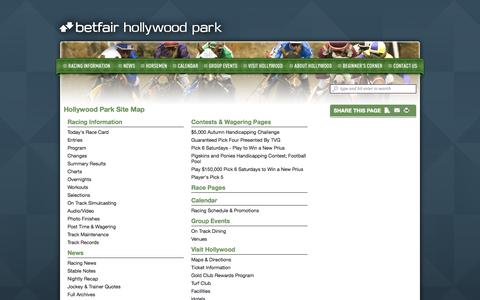 Screenshot of Site Map Page betfairhollywoodpark.com - Hollywood Park • Site Map - captured Oct. 3, 2014