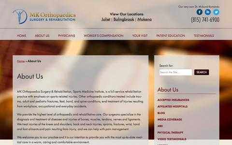 Screenshot of About Page jolietortho.com - About Us - MK Orthopaedics - captured Oct. 3, 2014