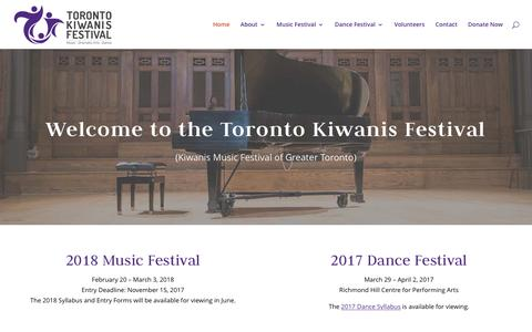 Screenshot of Home Page kiwanismusictoronto.org - Toronto Kiwanis Music Festival - captured March 22, 2017