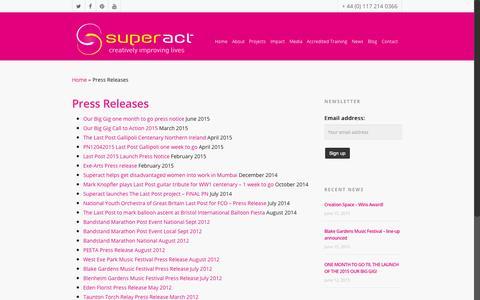 Screenshot of superact.org.uk - Press Releases - Superact - captured June 21, 2015