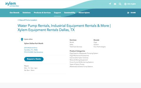 Screenshot of Support Page xylem.com - Water Pump Rentals, Industrial Equipment Rentals & More   Xylem Equipment Rentals Dallas, TX   Xylem US - captured Nov. 9, 2019