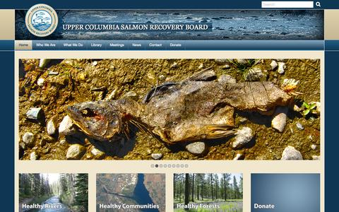 Screenshot of Home Page ucsrb.org - Upper Columbia Salmon Recovery Board - captured Sept. 22, 2014