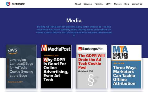Screenshot of Press Page clearcode.cc - Clearcode in Media - Enterprise-grade Software Development - captured Nov. 25, 2018