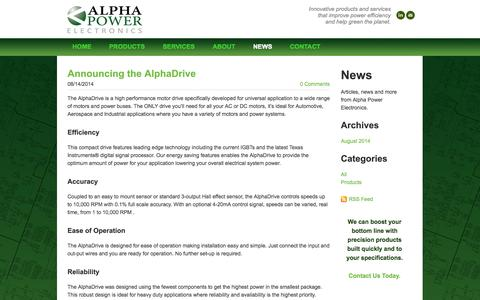 Screenshot of Press Page alphapowerelectronics.com - Alpha Power Electronics - Alpha Power Electronics - News, Articles and Information - captured Oct. 29, 2014