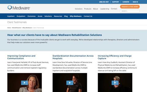Screenshot of Testimonials Page mediware.com - Testimonials | Rehabilitation - Mediware Information Systems - captured Oct. 17, 2018