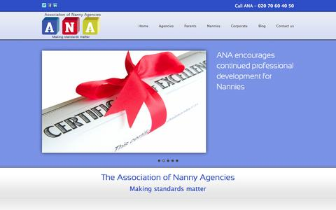 Screenshot of Home Page anauk.org - Home | Association of Nanny Agencies UK - captured Oct. 4, 2014