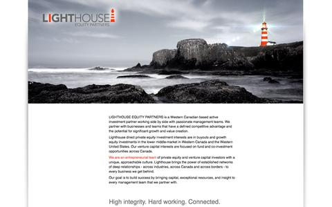 Screenshot of Home Page lhequitypartners.com - Lighthouse Equity Partners - captured Oct. 2, 2014