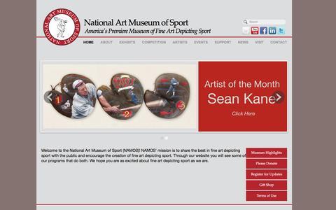Screenshot of Home Page nationalartmuseumofsport.org - National Art Museum of Sport   NAMOS, America's Premier Sport Art Museum - captured Jan. 11, 2016