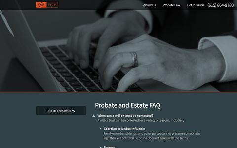 Screenshot of FAQ Page cwfirm.com - Probate and Estate Questions | CW Firm - captured Oct. 1, 2014