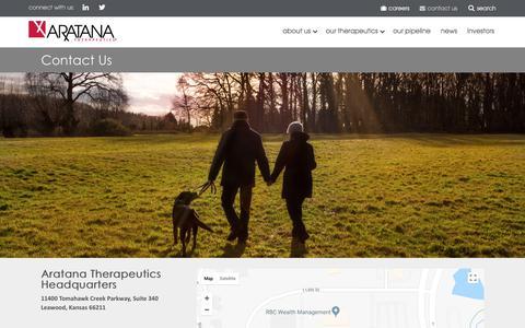 Screenshot of Contact Page aratana.com - Contact Aratana   Investor & Media Inquiries - captured Sept. 24, 2018