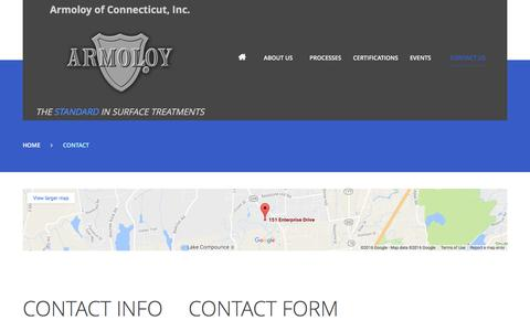 Screenshot of Contact Page armoloyct.com - Contact | Armoloy of Connecticut, Inc. - captured Nov. 21, 2016