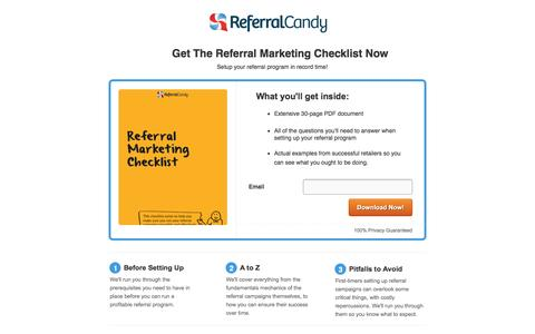 Screenshot of Landing Page referralcandy.com captured Oct. 4, 2016