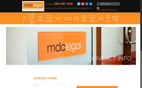 Screenshot of Contact Page mdclegal.com.au - Contacts - MDC Legal - Perth - captured Nov. 5, 2018