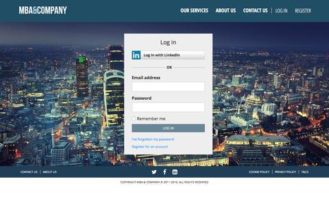 Screenshot of Login Page mbaco.com - Log in - MBA & Company - captured Feb. 3, 2016