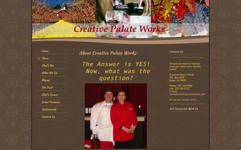 Screenshot of About Page creativepalateworks.com - Creative Palate Works - About - captured Sept. 30, 2014