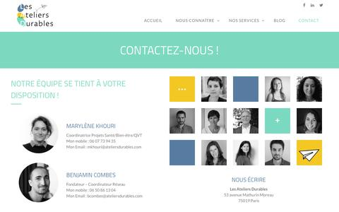 Screenshot of Contact Page ateliersdurables.com - Contactez-nous ! - Les Ateliers Durables - captured Sept. 28, 2018