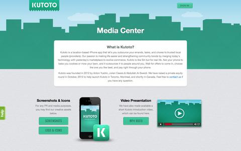 Screenshot of Press Page kutoto.com - Kutoto - Get things done, locally. - captured Sept. 16, 2014