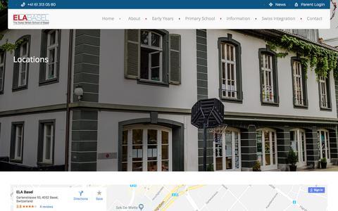 Screenshot of Locations Page ela-basel.ch - Locations   ELA Basel   The Swiss British School of Basel - captured July 15, 2018