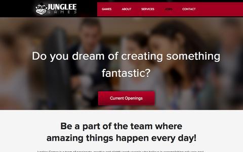 Screenshot of Jobs Page jungleegames.com - Jobs | Junglee Games - captured Sept. 19, 2014