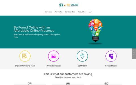 Screenshot of Home Page beeonline.ca - Bee Online - Web Marketing | your online presence - captured Oct. 9, 2017