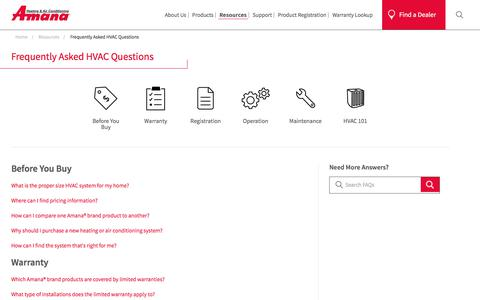 Screenshot of FAQ Page amana-hac.com - Answers to Frequently Asked HVAC Operation Questions | Amana - captured Sept. 23, 2018