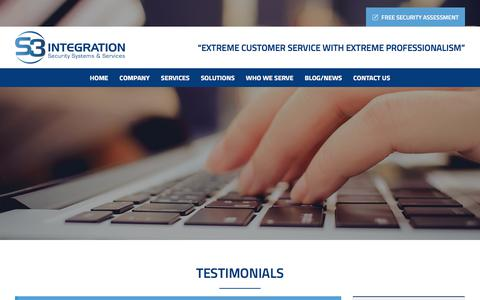 Screenshot of Testimonials Page s3integration.com - S3 Integration Testimonials & Client Reviews | Building Automation in MD, DC and VA - captured July 26, 2018