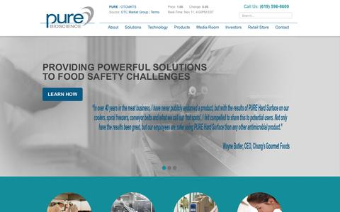 Screenshot of Home Page purebio.com - PURE Bioscience - captured Nov. 13, 2016