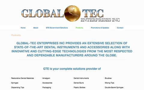 Screenshot of Products Page global-tecinc.com - Products • Global-Tec Enterprises Inc - captured March 13, 2016